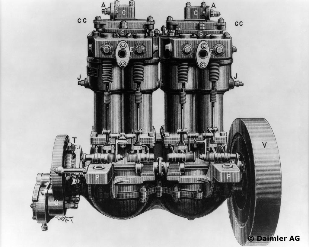 Daimler Phoenix-Motor, 2/3/4/5/6/7,5/8 PS, Bauzeit: 1895 bis 1902.