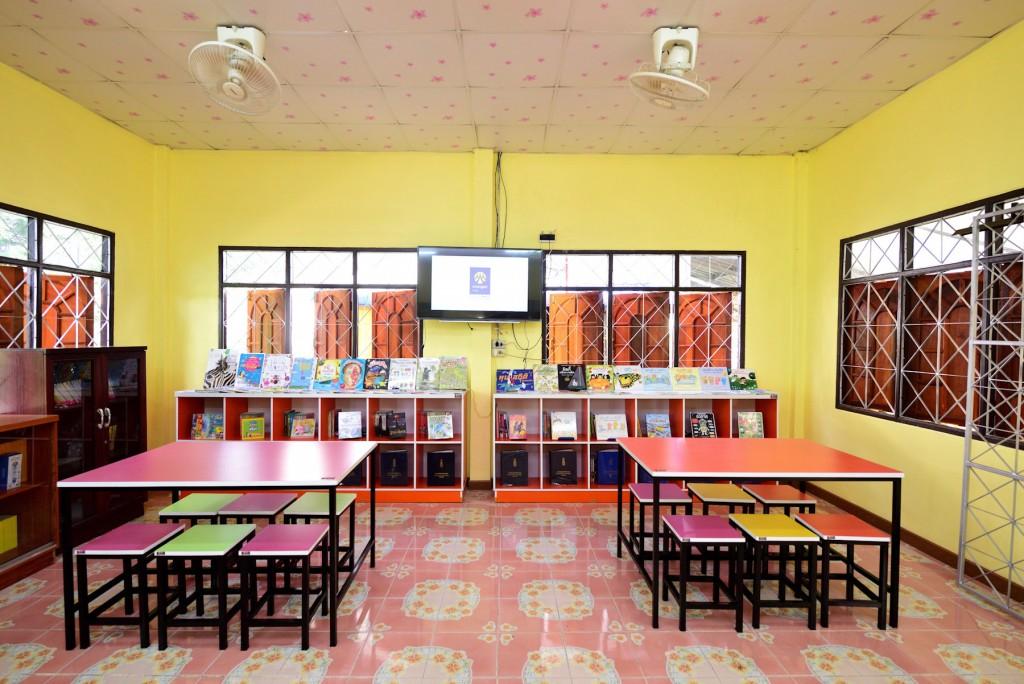 ห้องสมุด กรุงศรี ออโต้ แห่งที่ 1 โรงเรียนบ้านเสลา หลังการซ่อมและเสริม