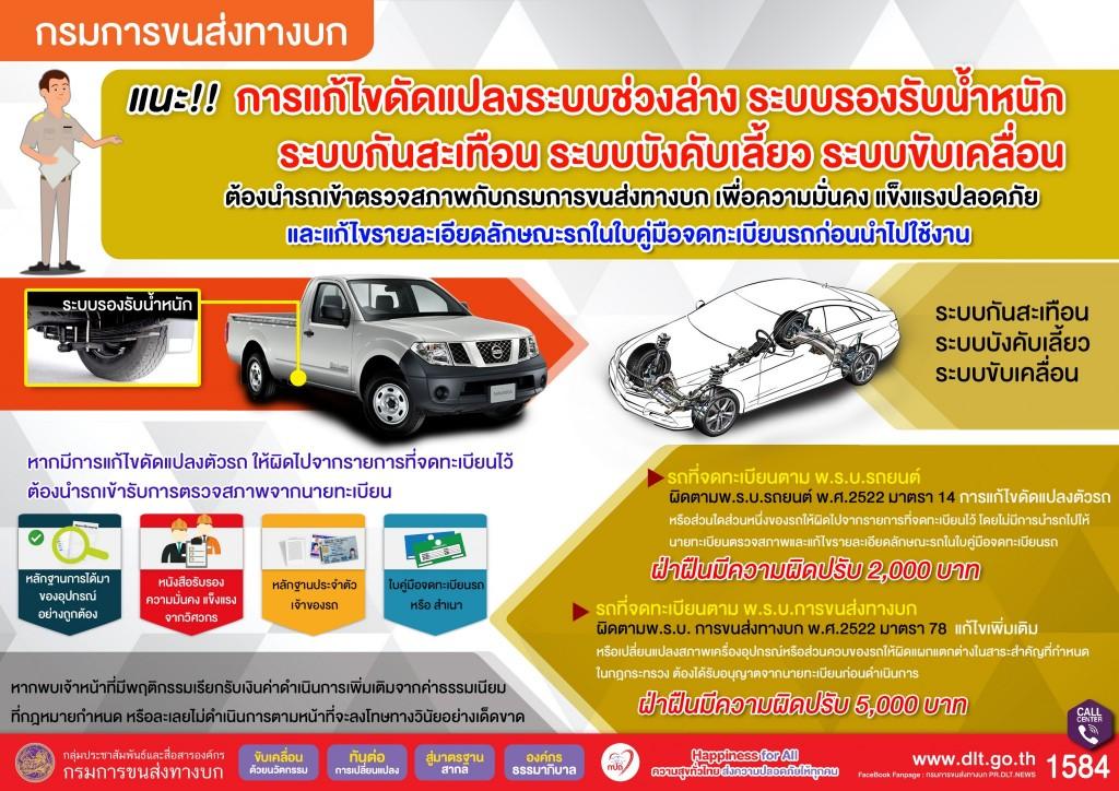 กรมการขนส่งทางบก แนะนำรถยนต์ที่ผ่านการแก้ไขดัดแปลงต้องนำรถเข้าตรวจสภาพ