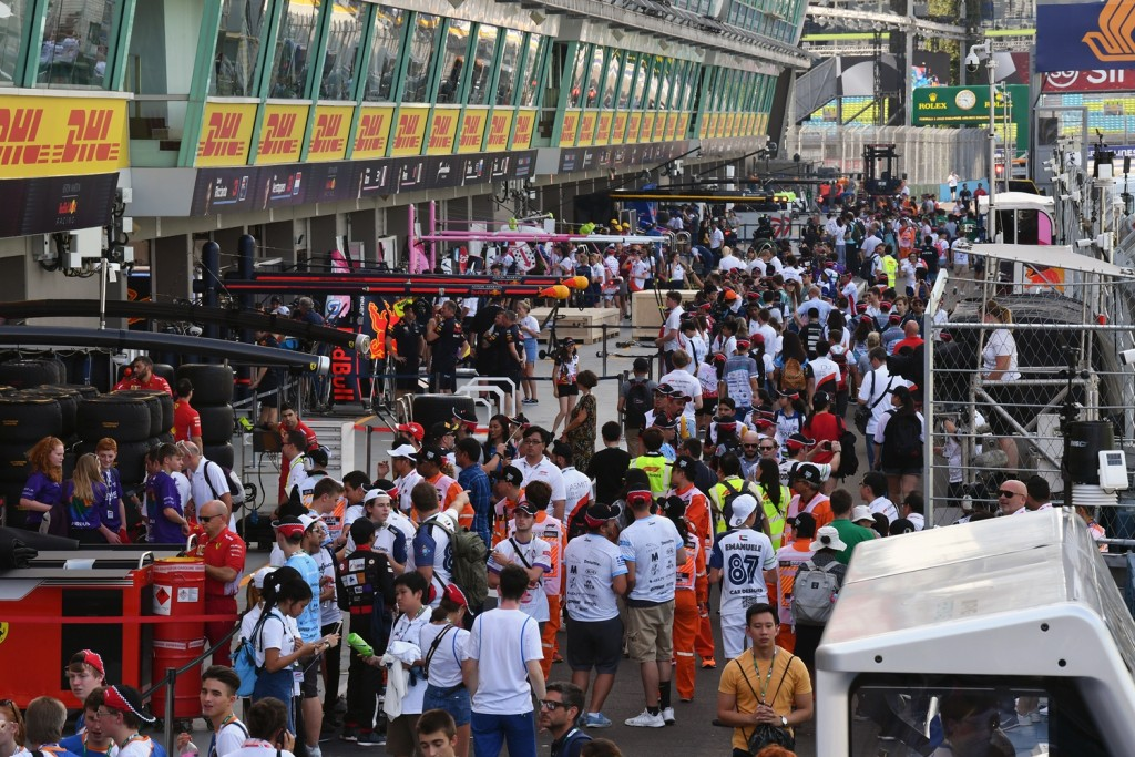 F1 in Schools students in pit lane at Formula One World Championship, Rd15, Singapore Grand Prix, Preparations, Marina Bay Circuit, Singapore, Thursday 13 September 2018.