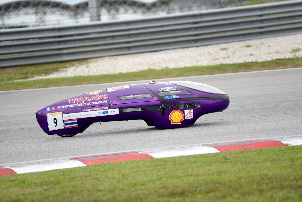 Team RMUTP RACING, race number 9, from Rajamangala University of Technology Phra Nakhon, Thailand, competing in the Prototype - Ethanol category during day two of Shell Make the Future Live Malaysia 2019 at the Sepang International Circuit on Tuesday, April 30, 2019, south of Kuala Lumpur, Malaysia. (Edwin Koo/AP Images for Shell)