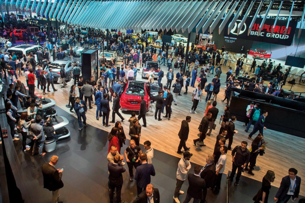 This general view shows the Mercedes car stand during the Beijing Auto Show in Beijing on April 25, 2018. - Industry behemoths like Volkswagen, Daimler, Toyota, Nissan, Ford and others will display more than 1,000 models and dozens of concept cars at the Beijing auto show. (Photo by Nicolas ASFOURI / AFP)        (Photo credit should read NICOLAS ASFOURI/AFP via Getty Images)