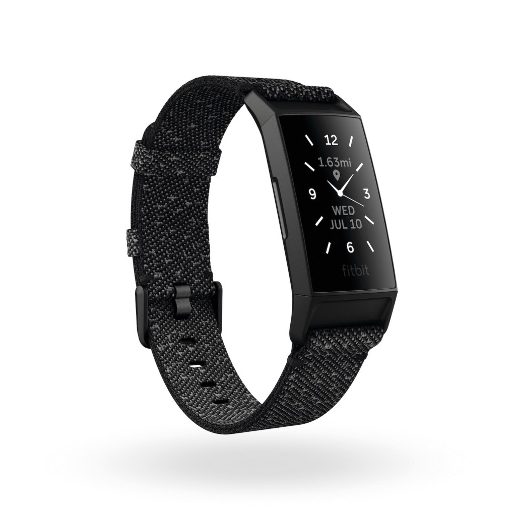 Product render of Fitbit Charge 4, 3QTR view, in Special Edition Granite and Black.