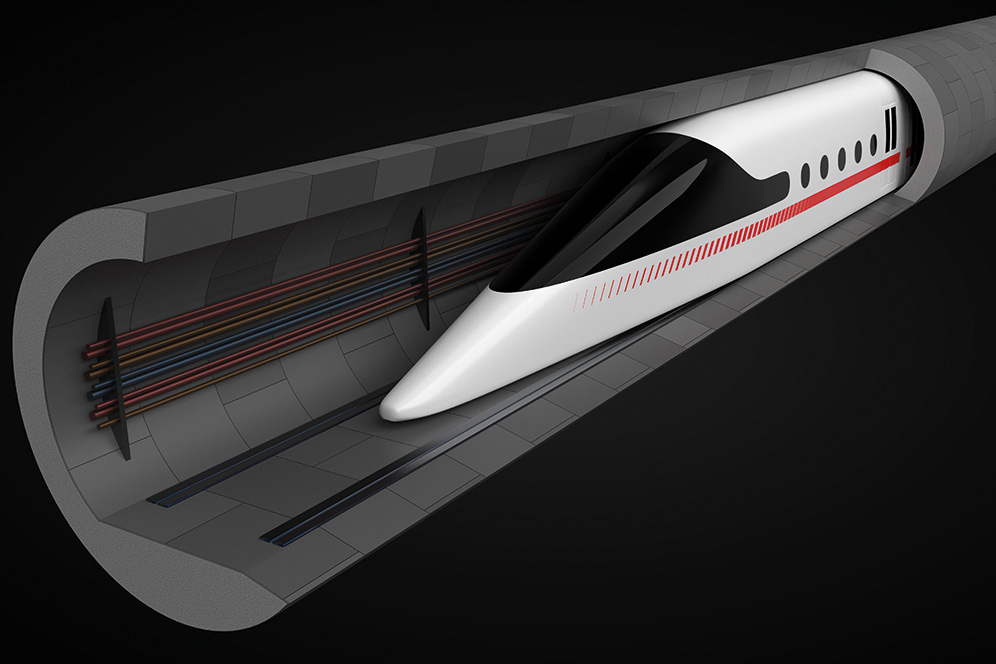 R4F8J0 high speed train. concept design for magnetic levitation and vacuum tunnel technology. suitable for technology, transport and train themes. 3d illustr