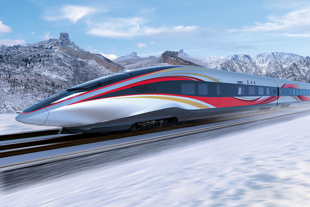 MF22MP Beijing, China. 24th Apr, 2018. Photo shows design rendering of a future Olympic bullet train released by the China Academy of Railway Sciences Co., Ltd in Beijing, capital of China, April 23, 2018. China will complete the testing of high-speed trains that will run on a new line linking Beijing and Zhangjiakou, co-hosts of the 2022 Winter Olympics, by the first half of 2019. A prototype of the trains will be manufactured and assembled by the end of this year. Credit: Xinhua/Alamy Live News