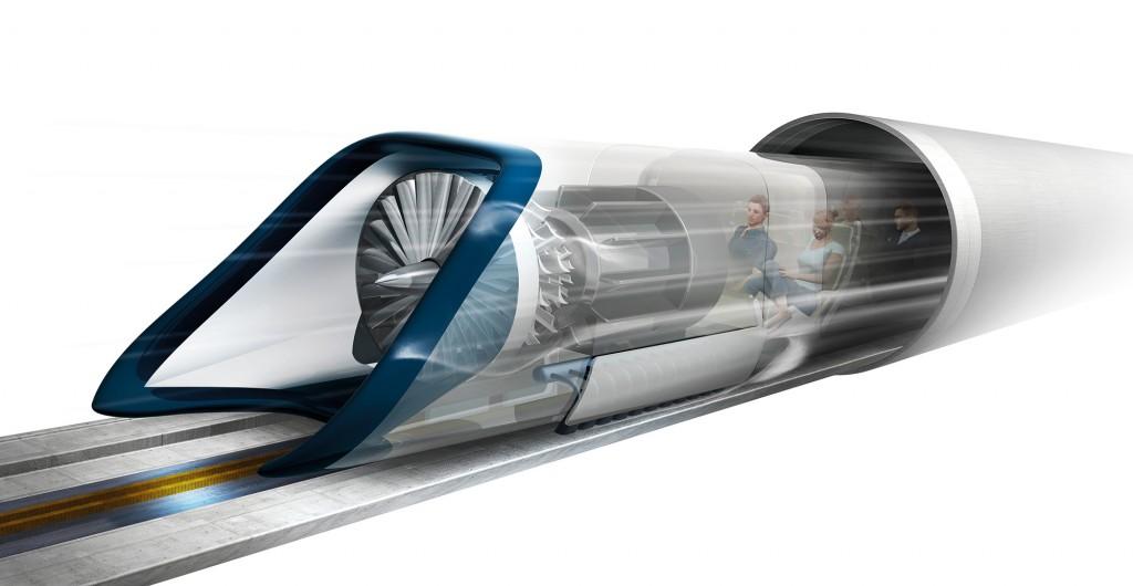 Hyperloop transport. Artwork of a planned high-speed transportation system known as the Hyperloop. Passengers are transported in pressurised capsules that ride on a cushion of air in tubes with reduced air pressure. It is thought that speeds of up to 1220 kilometres per hour could be attained. The initial design, by entrepreneur Elon Musk, was announced in August 2013 and is intended to run from Los Angeles to San Francisco in California, USA.