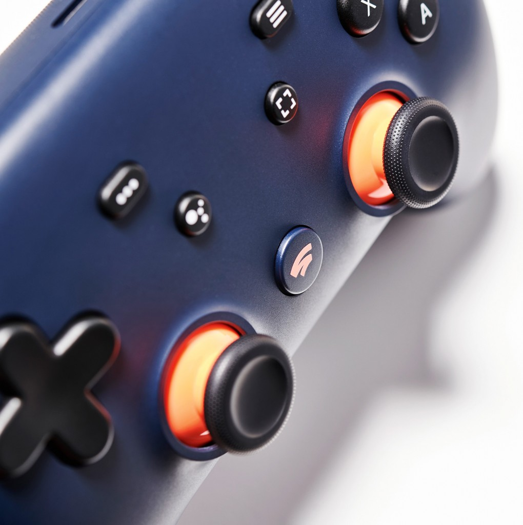Detail of a Google Stadia video game controller, taken on February 14, 2020. (Photo by Neil Godwin/T3 Magazine)