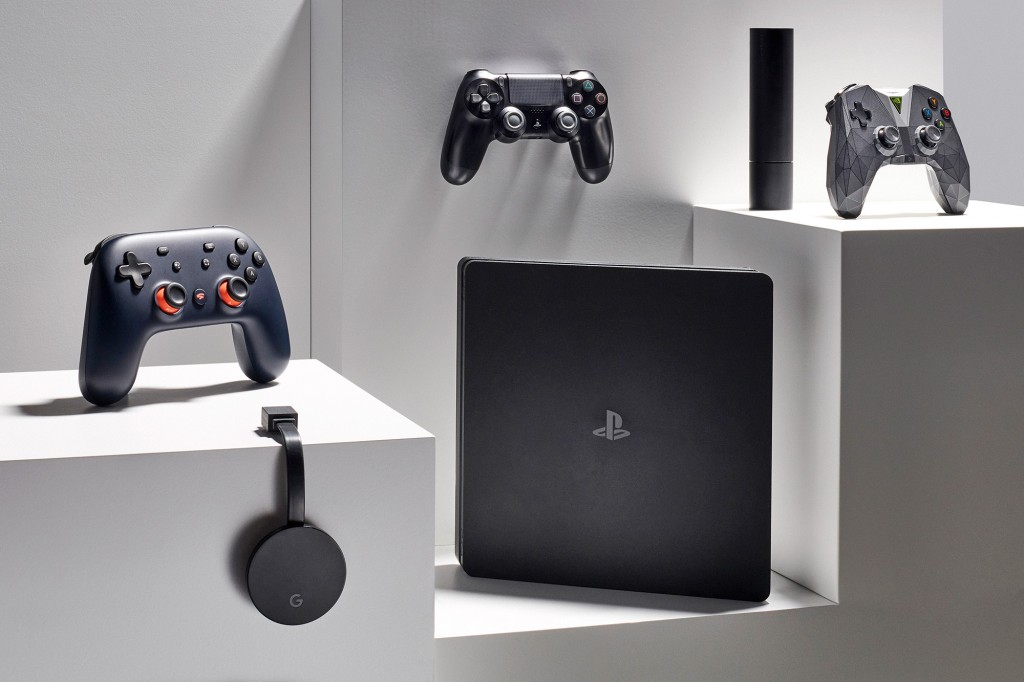 A trio of video game devices, including (L-R) a Google Stadia, Sony PlayStation 4 and Nvidia Shield TV, taken on February 14, 2020. (Photo by Neil Godwin/T3 Magazine)