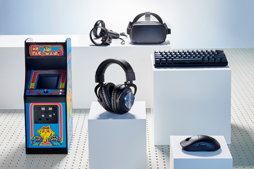 Numskull Ms Pac-Man Quarter Scale Arcade Cabinet, Oculus Quest VR headset, Logitech G PRO X Wireless Lightspeed gaming headset, Razer Huntsman Mini gaming keyboard, Logitech G PRO Wireless gaming mouse, taken on August 4, 2020. (Photo by Neil Godwin/T3 Magazine)