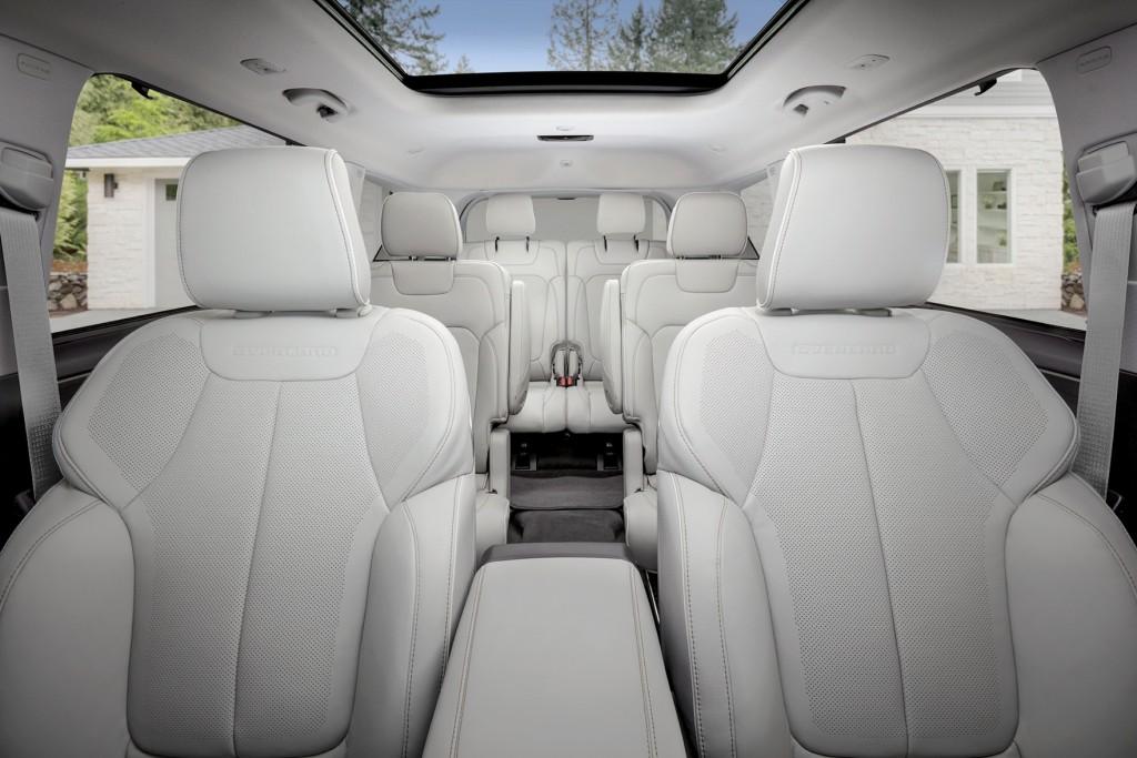 2021 Jeep® Grand Cherokee L Overland spacious three-row interior with CommandView dual-pane sunroof.