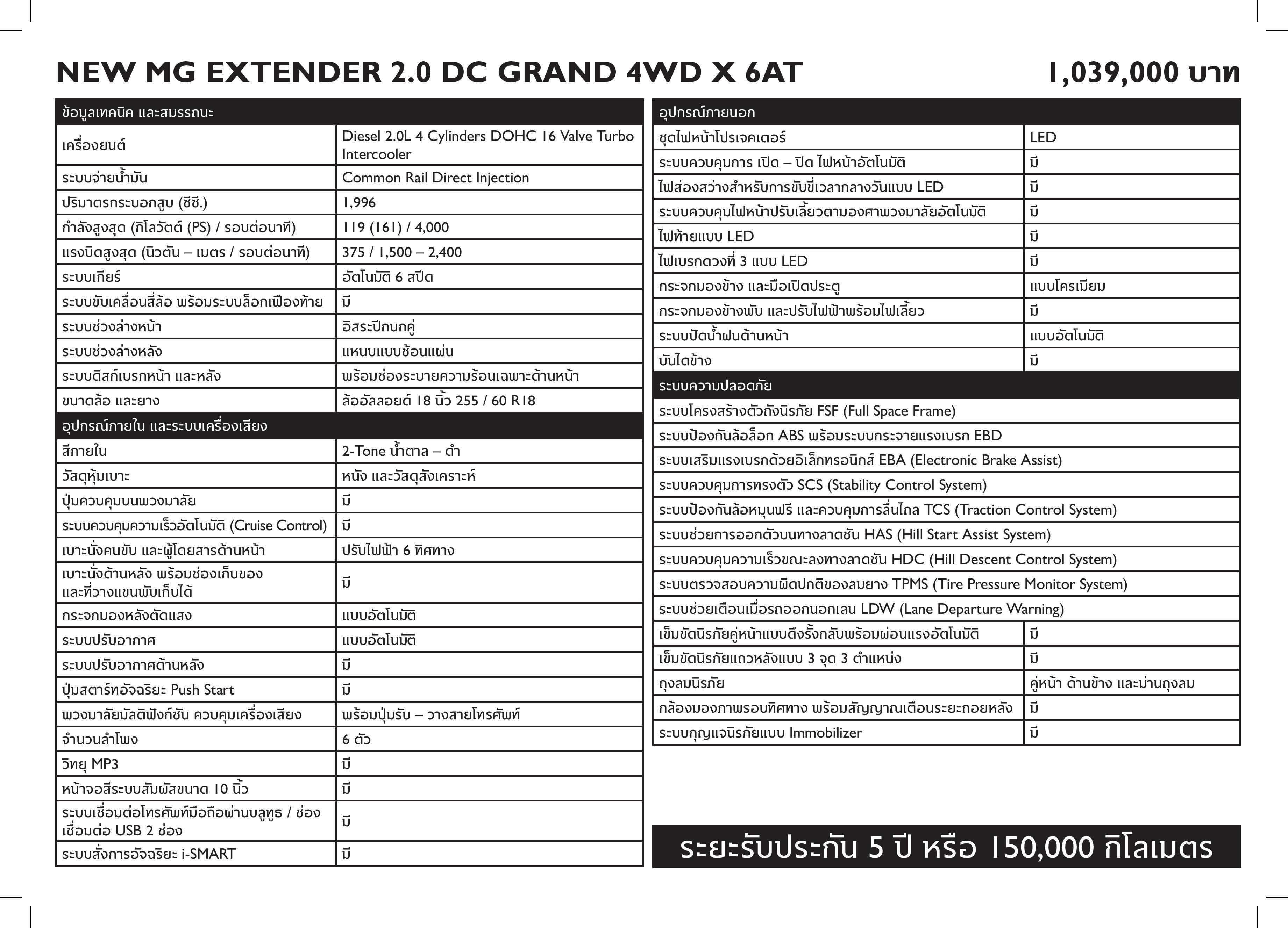 MG - NEW MG EXTENDER FL - Specsheet-page-001