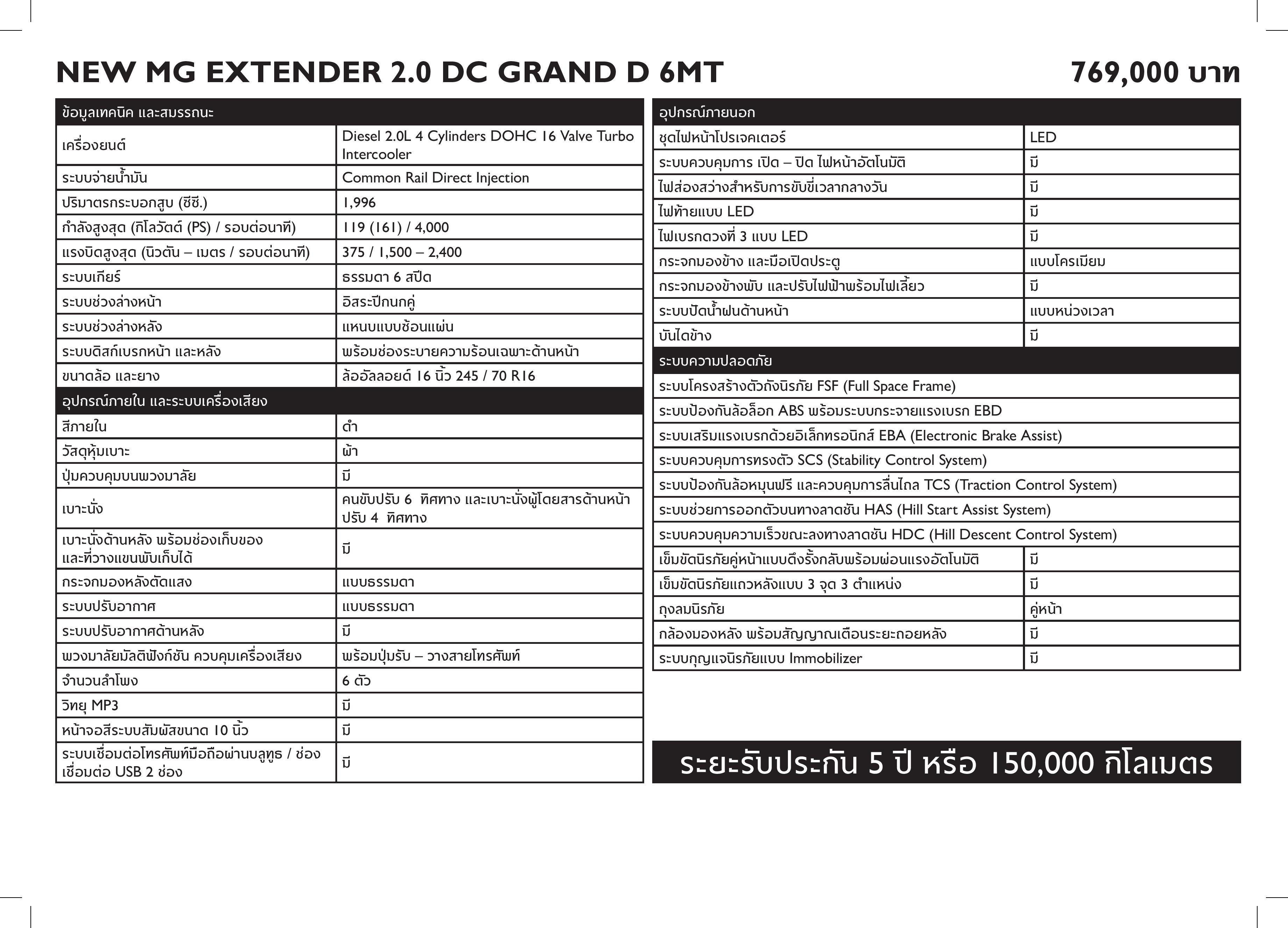 MG - NEW MG EXTENDER FL - Specsheet-page-003