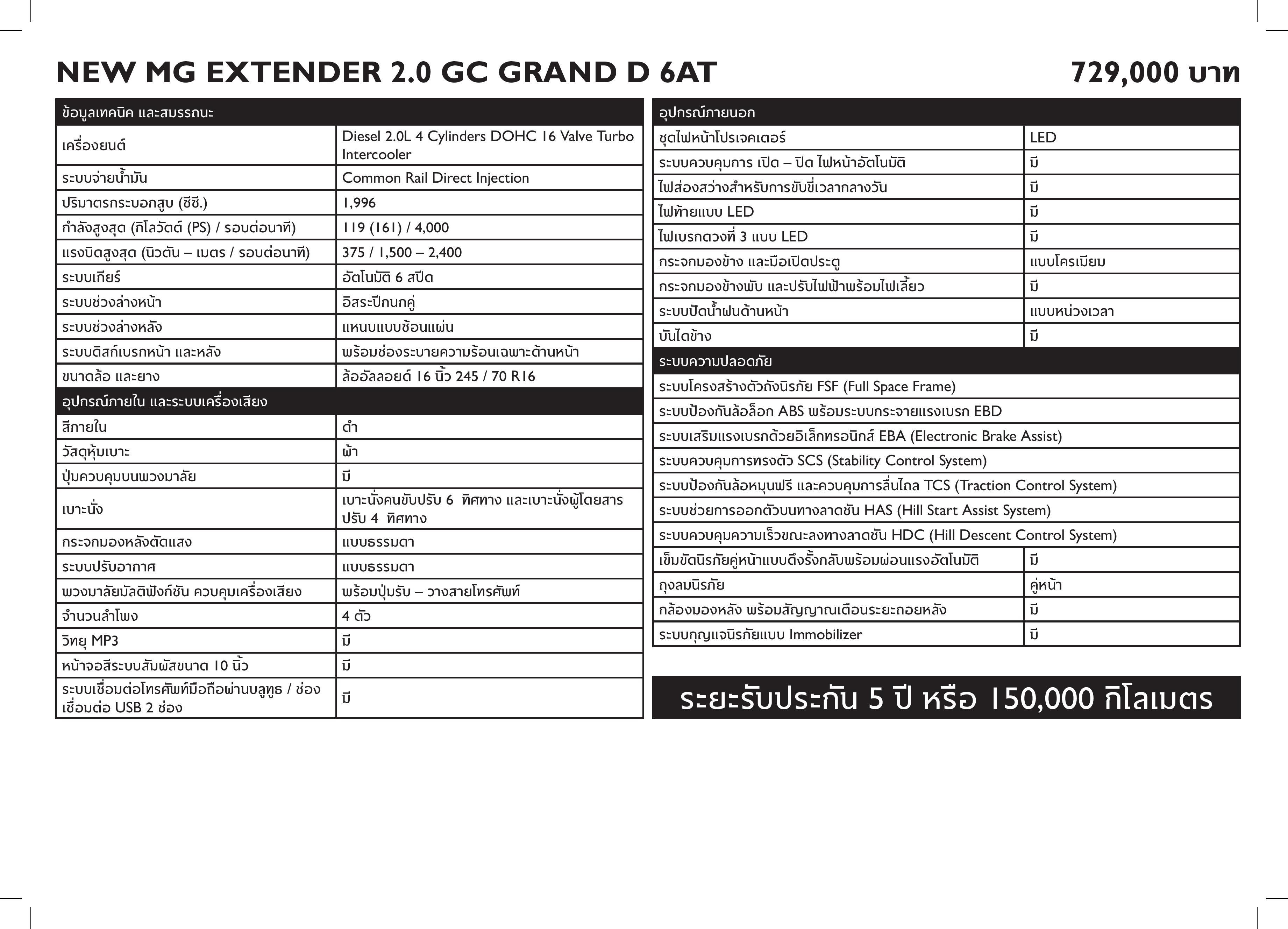 MG - NEW MG EXTENDER FL - Specsheet-page-005