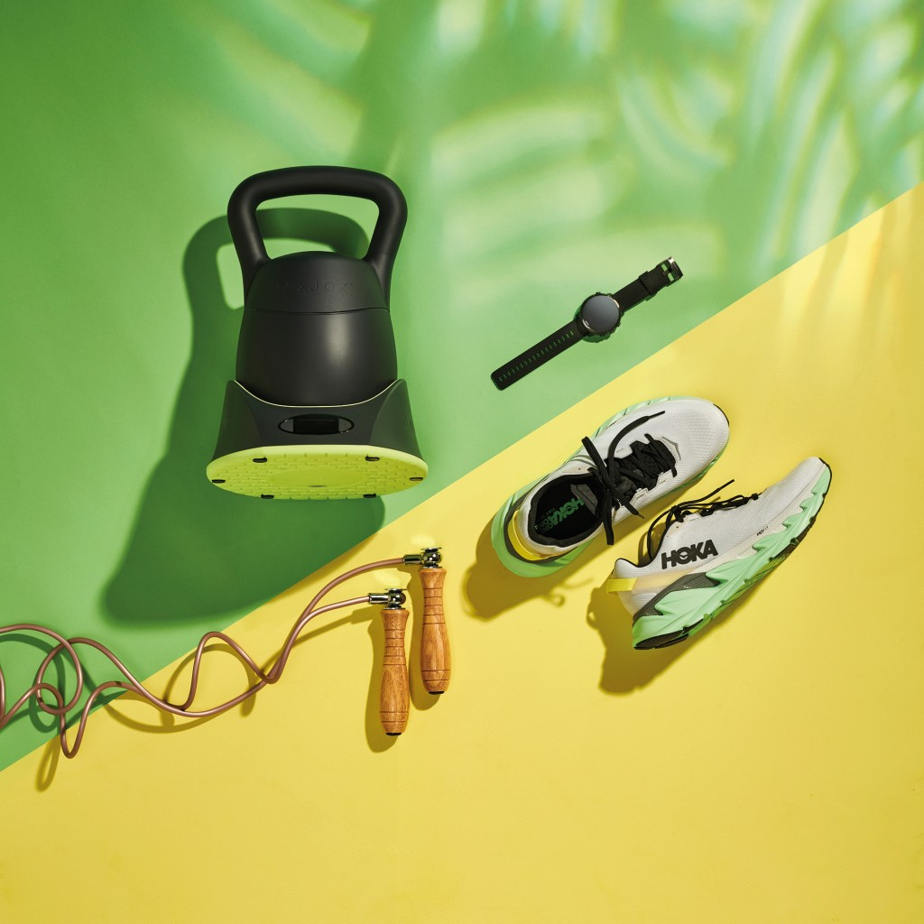 (Clockwise from top) JaxJox Kettlebell Connect, Suunto 7 Multisport Watch, Hoka One One Elevon 2 trainers and an Outshock Wooden Skipping Rope, taken on June 17, 2020. (Photo by Neil Godwin/T3 Magazine)