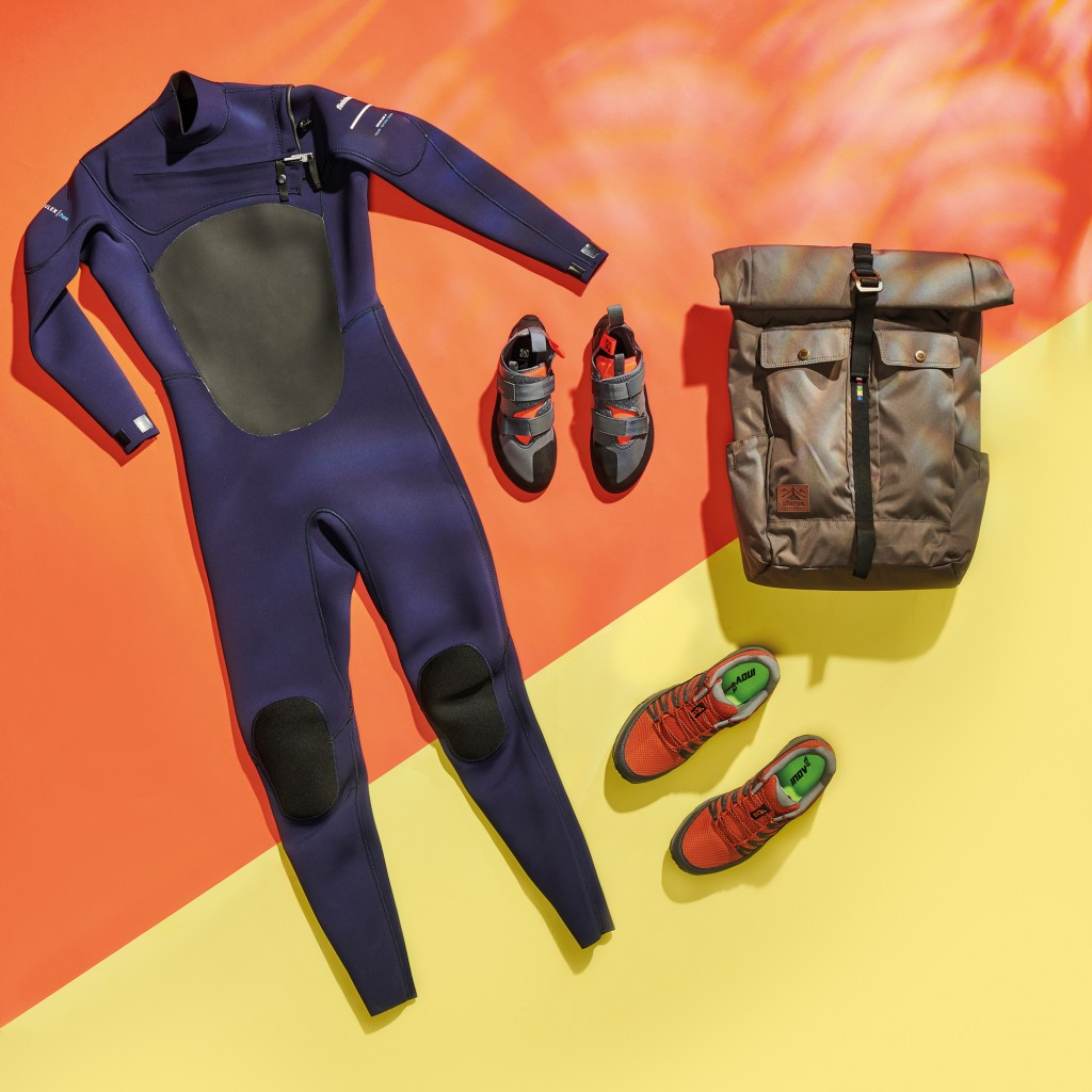 Finisterre Nieuwland 3E Eco wetsuit, Five Ten Kirigami climbing shoes, inov-8 Roclite 280 shoes and a Sherpa Yatra Adventure Pack, taken on June 15, 2020. (Photo by Neil Godwin/T3 Magazine)