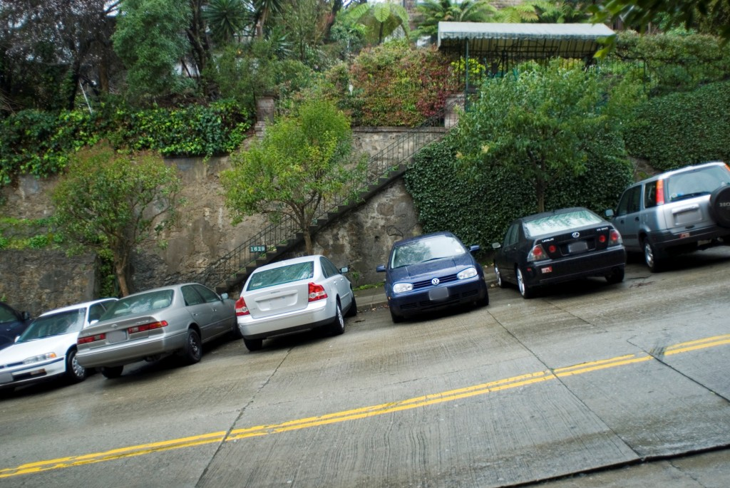 cars parked on a steep hill in san francisco