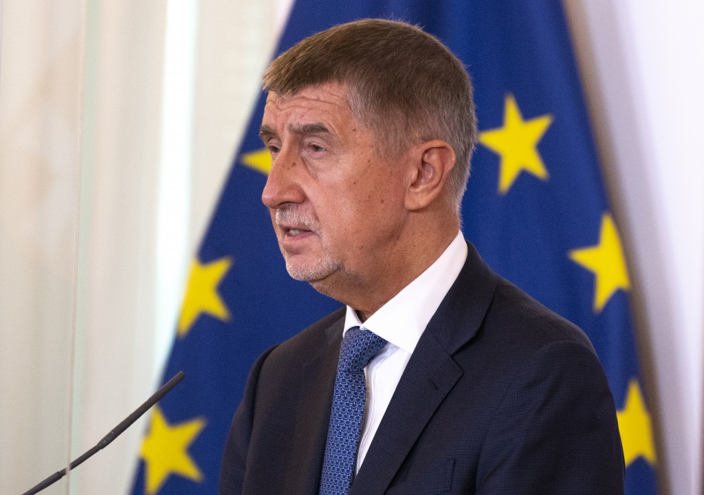 Czech Prime minister Andrej Babis speaks during a press conference with Austrian Chancellor Sebastian Kurz (not pictured) and Slovak Prime Minister Igor Matovic (not pictured) during Slavkov-3 summit at the Austrian chancellery in Vienna, Austria on September 09, 2020. (Photo by JOE KLAMAR / AFP)